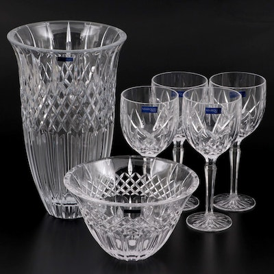 """Marquis by Waterford """"Brookside"""" Wine Glasses with """"Shelton"""" Bowl and Vase"""