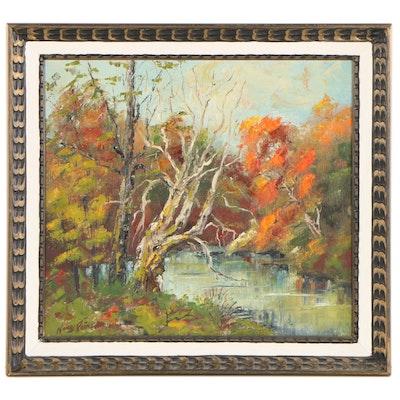 "Nancy Rains Landscape Oil Painting ""Along the Mississinewa,"" 1969"