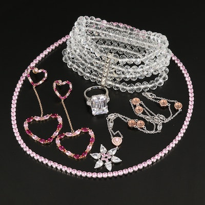 Jewelry Grouping Including Ruby, Glass and Cubic Zirconia