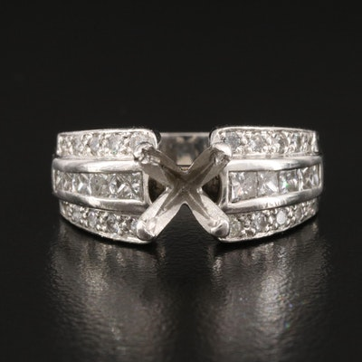 Platinum 1.05 CTW Diamond Semi Mount Ring