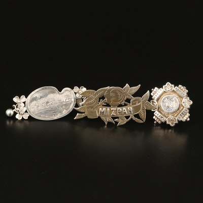 Victorian Sterling Brooches Including Mizpah and Scenic Designs