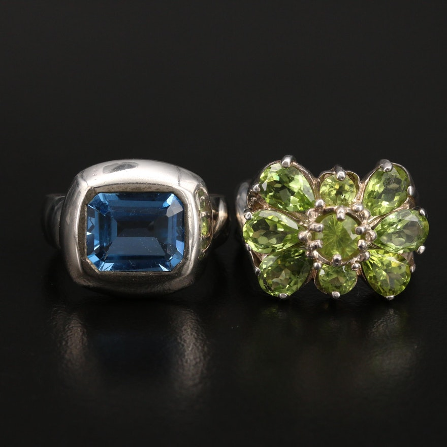 Sterling Peridot and Spinel Rings
