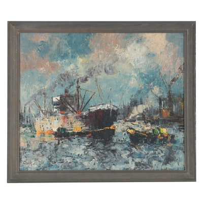 Maritime Impressionist Style Oil Painting of Boats, 1971