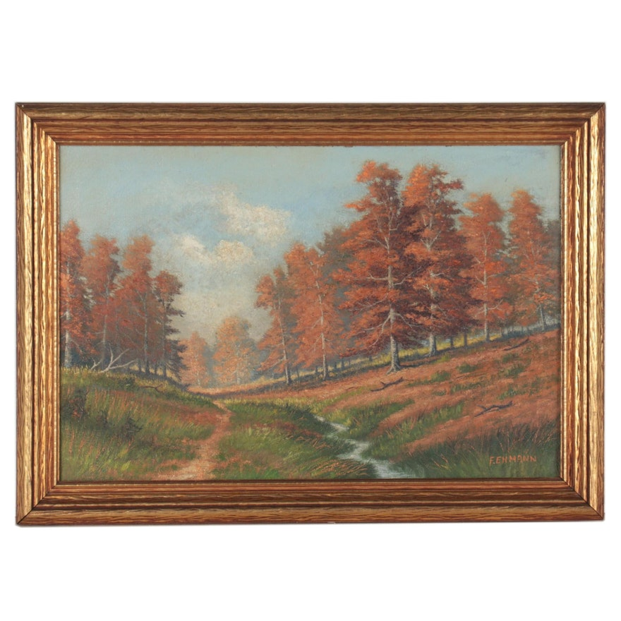 Frederick Ehmann Landscape Oil Painting of Autumn Forest, Early 20th Century