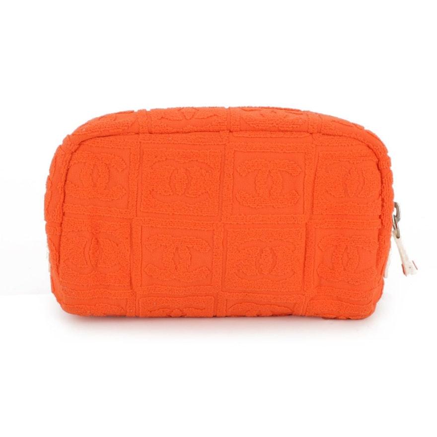 Chanel Sport Zippered Cosmetic Bag in Orange CC Monogram Terry Cloth