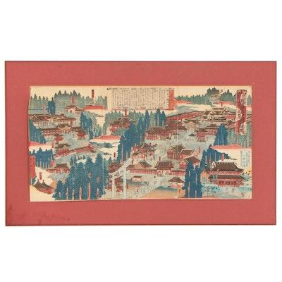 Hasegawa Chikuyō Restrike Woodblock Triptych Map of Toshogu Shrine, 1887