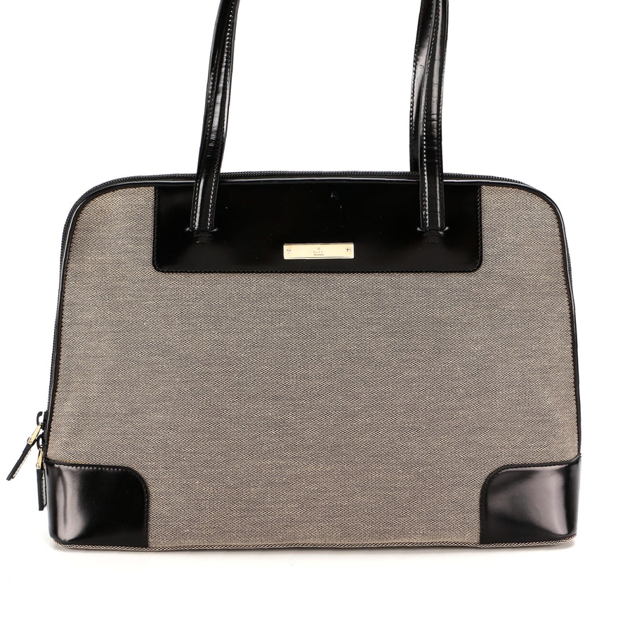 Gucci Canvas Shoulder Bag with Black Glazed Leather Trim