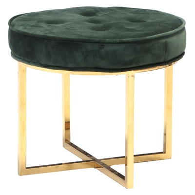"""Blue Ocean Traders """"Beauvoir"""" Brass-Patinated Metal and Tufted Emerald Ottoman"""
