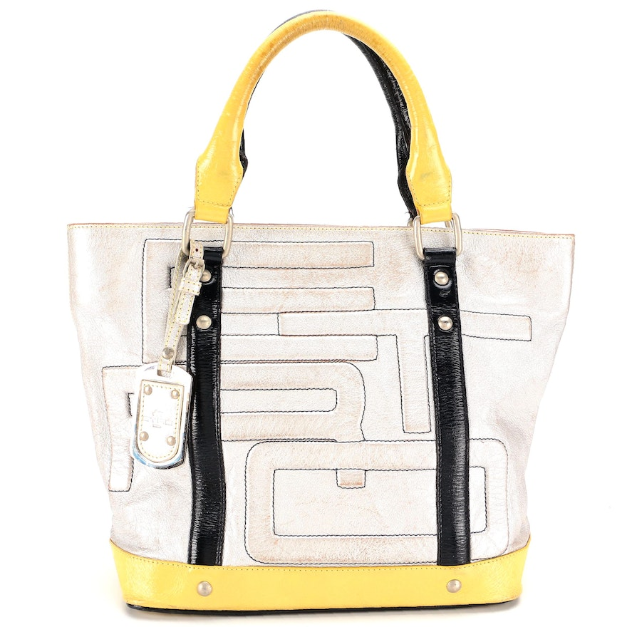 ETRO Metallic Leather Logo Tote Bag with Contrast Patent Leather Trim