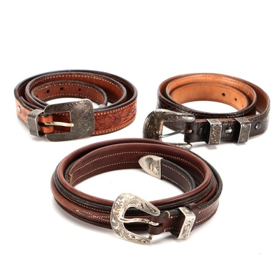 Vogt and Other Western Style Belts in Leather and Sterling Silver