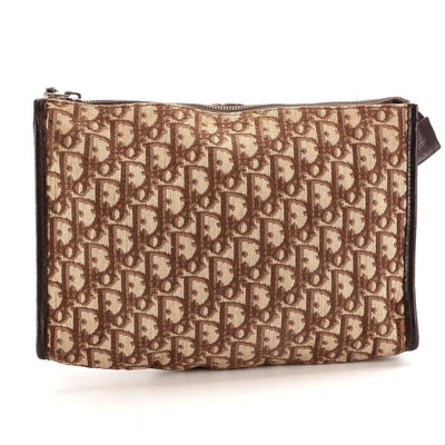 Christian Dior Cosmetic Pouch in Brown Trotter Canvas and Dark Brown Leather