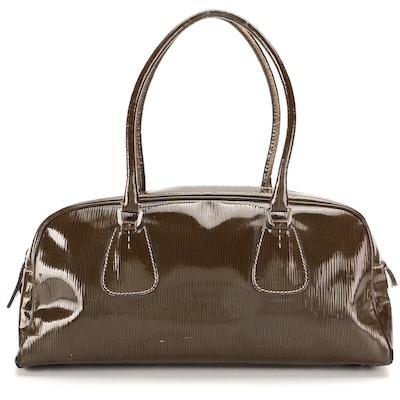 Prada Bowler Bag in Olive Embossed Patent Leather