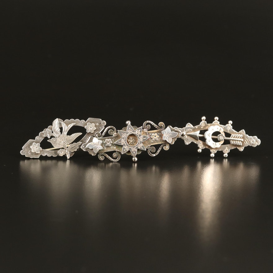 Victorian Sterling Bar Brooches Featuring Sydenham Brothers