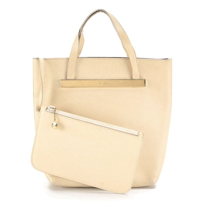 Gucci North/South Tote in Ivory Leather with Zip Pouch