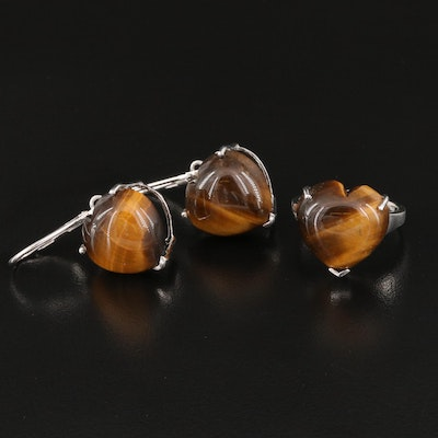Sterling Silver Tigers Eye Quartz Heart Earrings and Ring