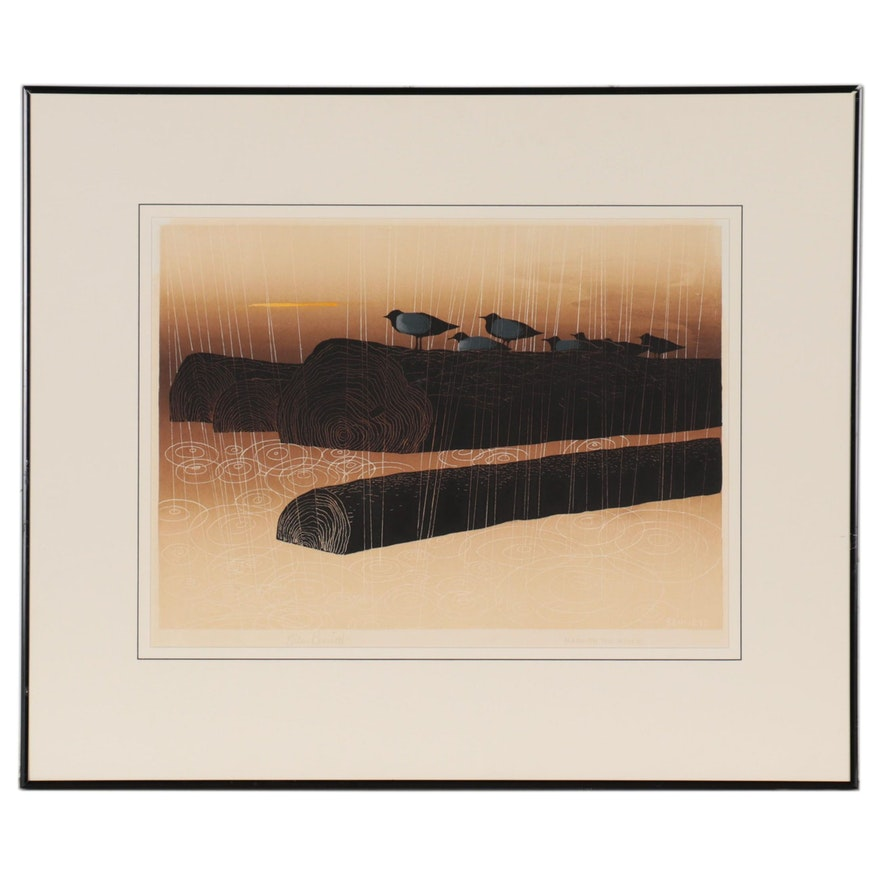 "Elton Bennett Serigraph ""Rain on the River,"" Mid-20th Century"
