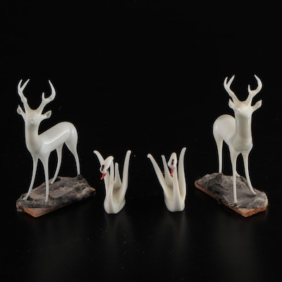 Art Glass Deer and Swan Figurines, Mid to Late 20th Century