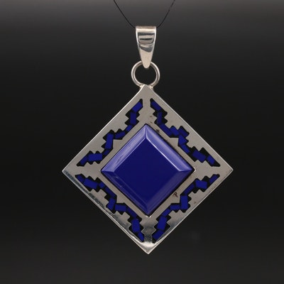 Mexican Sterling Lapis Lazuli Inlay Pendant