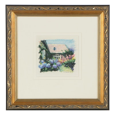 M. Katherine Hurley Abstract Landscape Pastel Drawing of Cottage, 1992