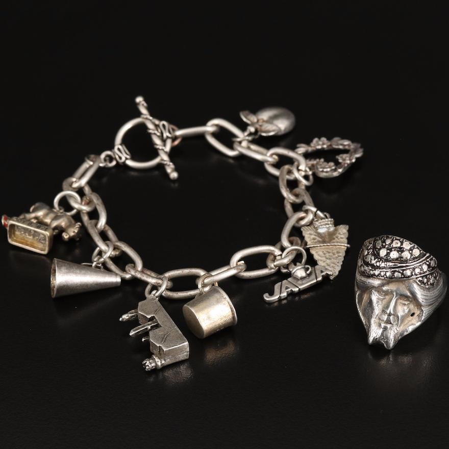 Sterling Charm Bracelet and Figural Ring