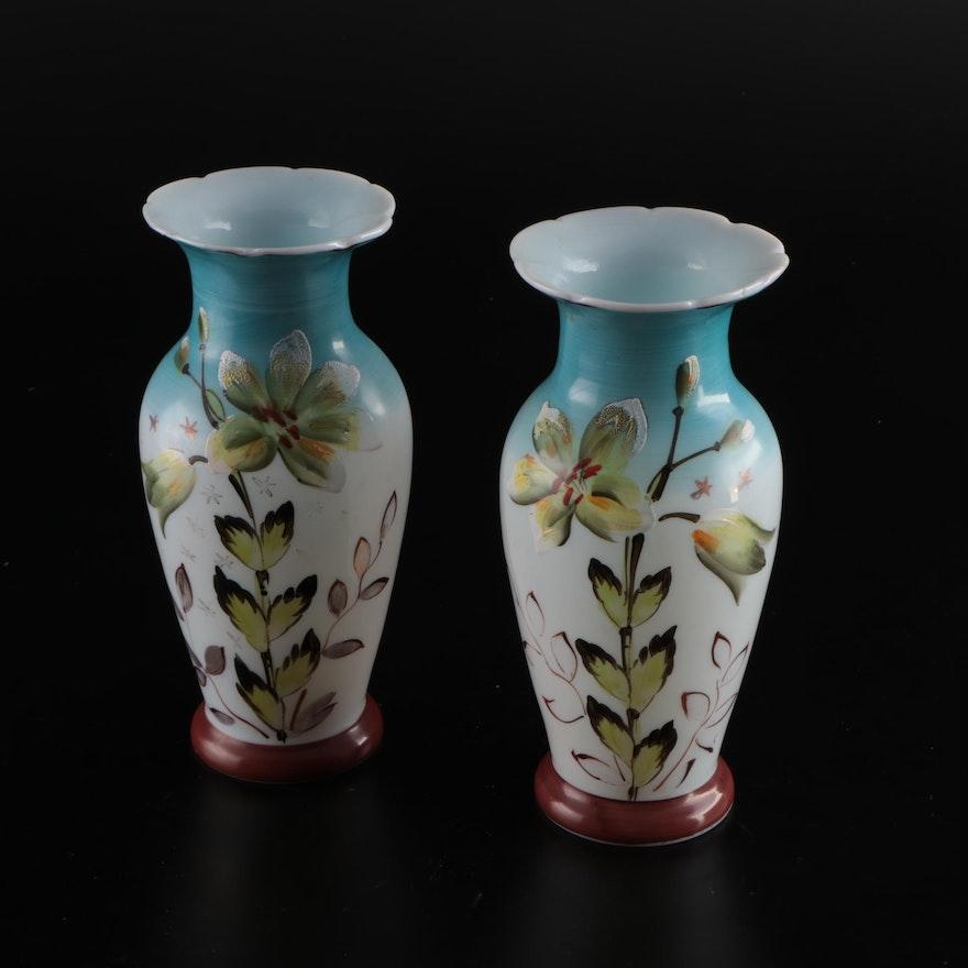 Floral Motif Hand-Painted Ceramic Vases