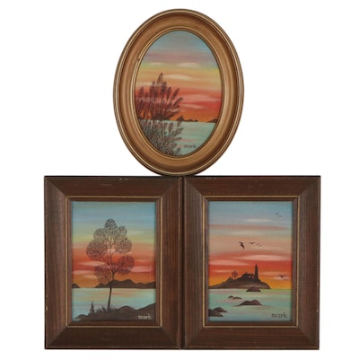 Landscape Oil Paintings of Sunsets on the Water, Late 20th Century