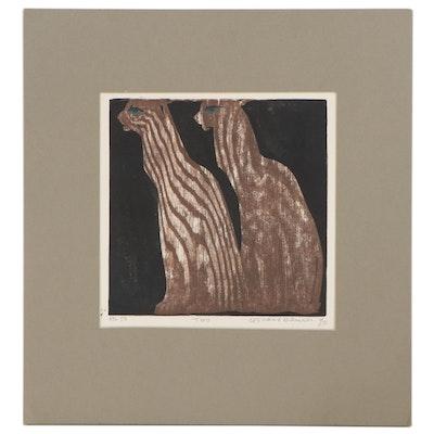 """Leonard Maurer Woodcut """"Two,"""" 1970"""