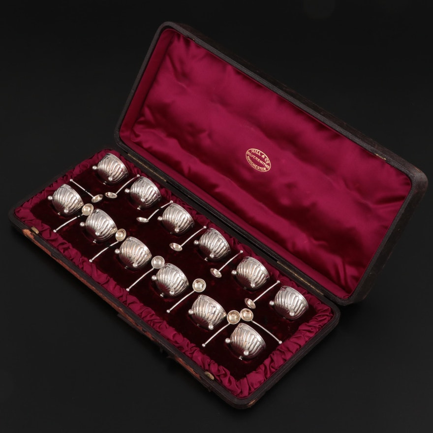 Horace Woodward & Co. Sterling Silver Salt Cellars with Sterling Salt Spoons