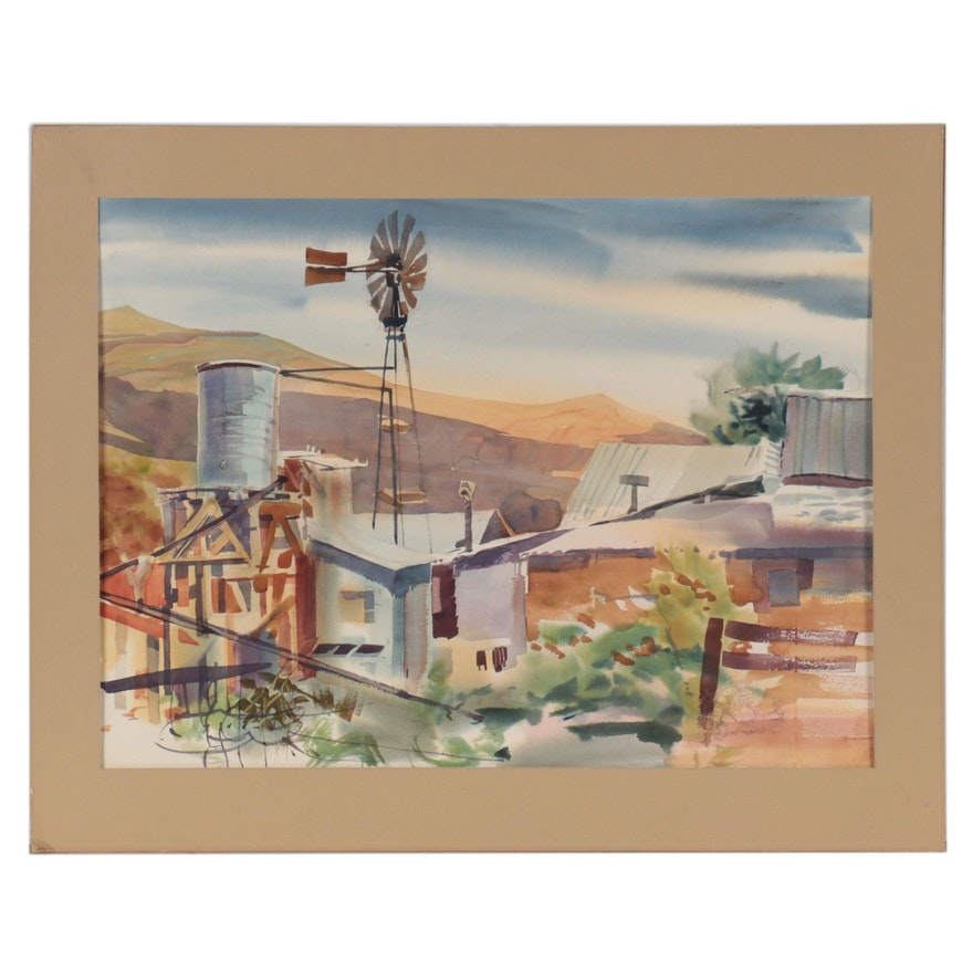 Landscape Watercolor Painting of Houses, Late 20th Century