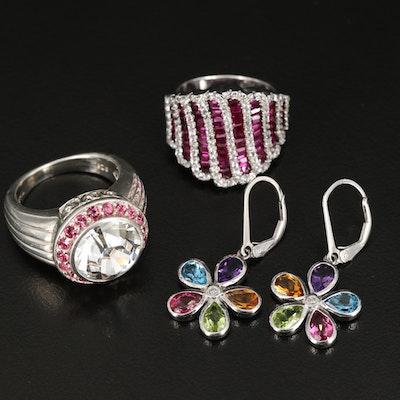 Sterling Gemstone and Diamond Rings and Flower Earrings