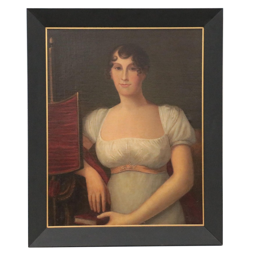 American Folk Portrait Oil Painting of Seated Woman, 19th Century