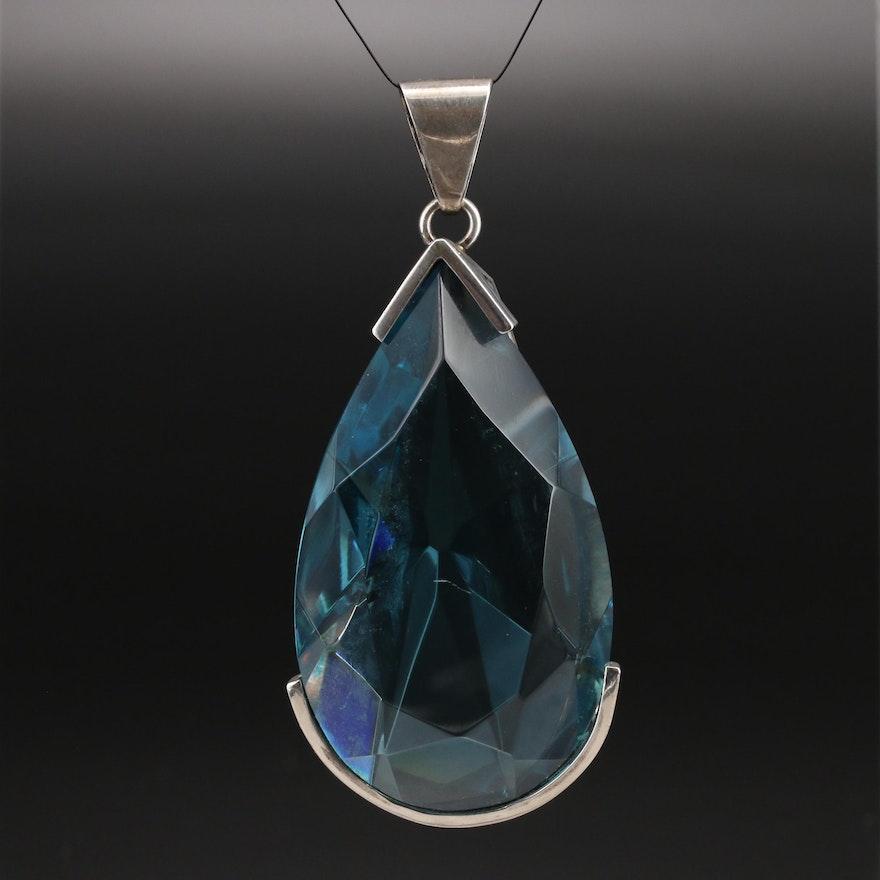 Sterling Faceted Glass Teardrop Pendant