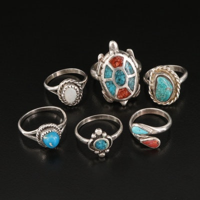 Southwestern Turquoise, Mother of Pearl and Coral Rings