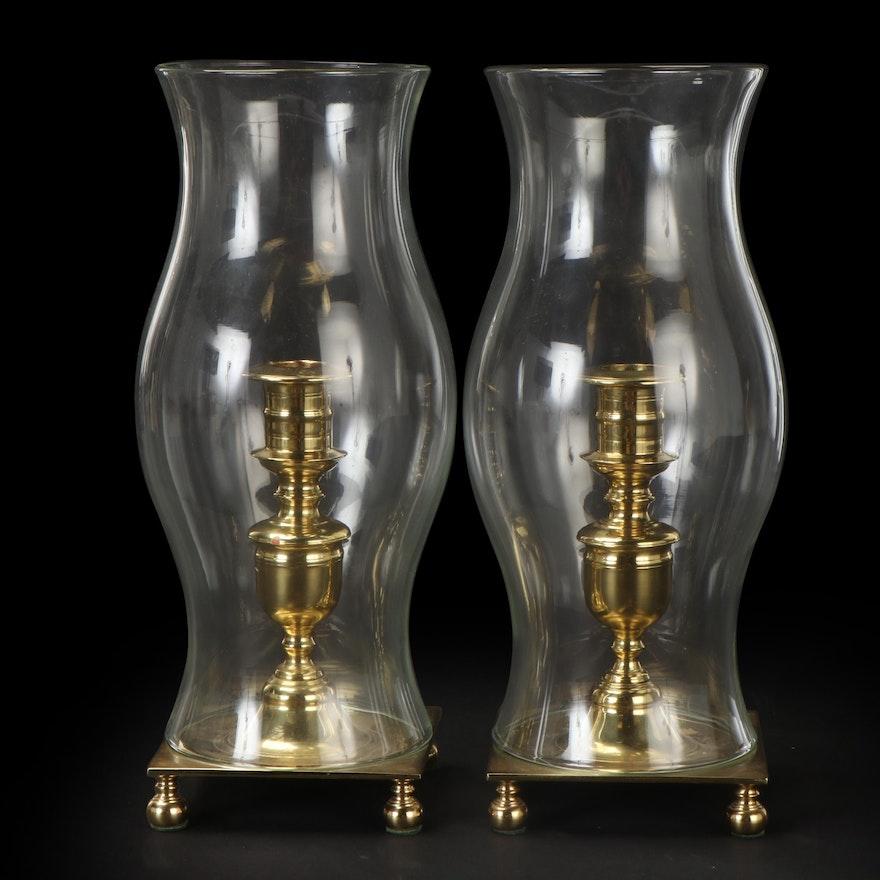 Virginia Metalcrafters Newport Brass Candlesticks with Hurricane Shades