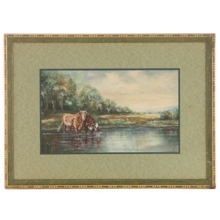 Pastoral Landscape Watercolor Painting, Early to Mid-20th Century