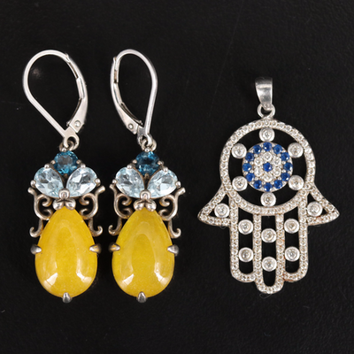 Sterling Hand of Fatima Pendant and Drop Earrings