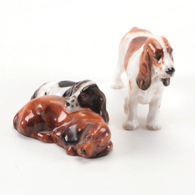 Royal Doulton Bone China Cocker Spaniel Figurines, Mid/Late 20th Century
