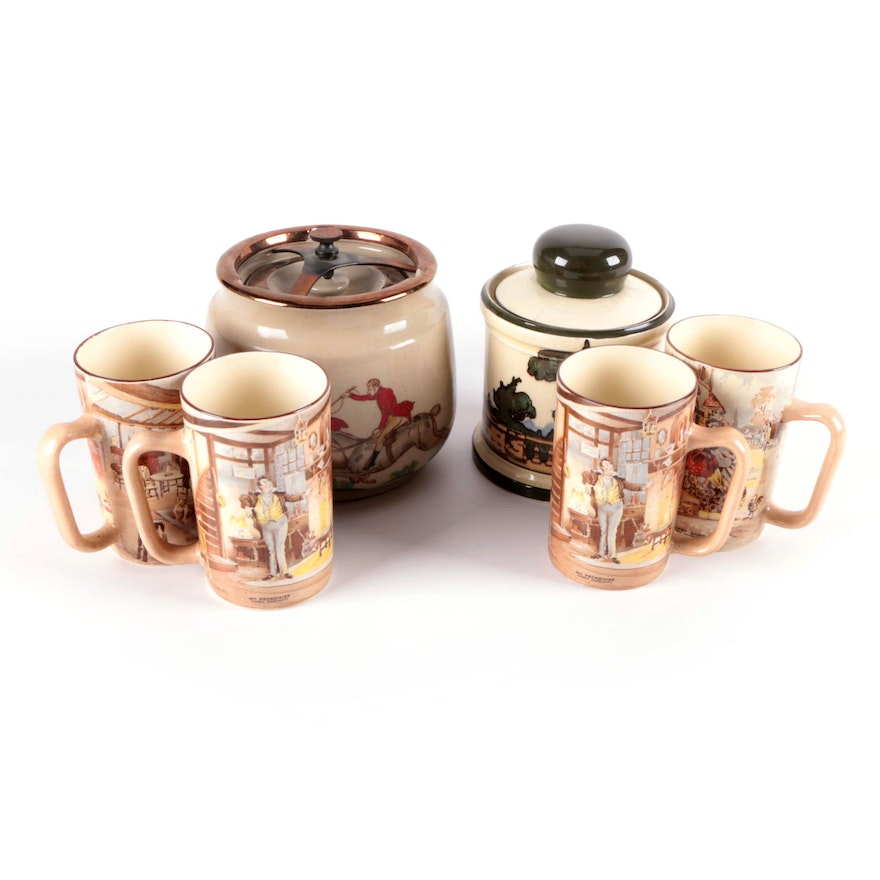 """Royal Doulton and Other English Stoneware Tobacco Jars with """"Oliver Twist"""" Mugs"""