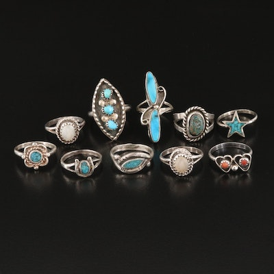 Southwestern Style Turquoise, Mother of Pearl and Coral Rings