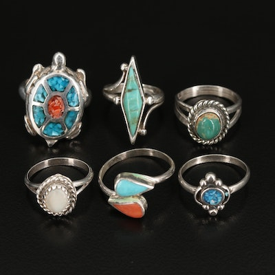 Southwestern Sterling Rings with Coral, Turquoise and Mother of Pearl