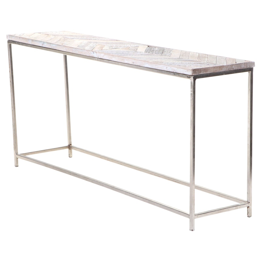 """Blue Ocean Traders """"Embed"""" Reclaimed Wood & Silver-Patinated Iron Console Table"""