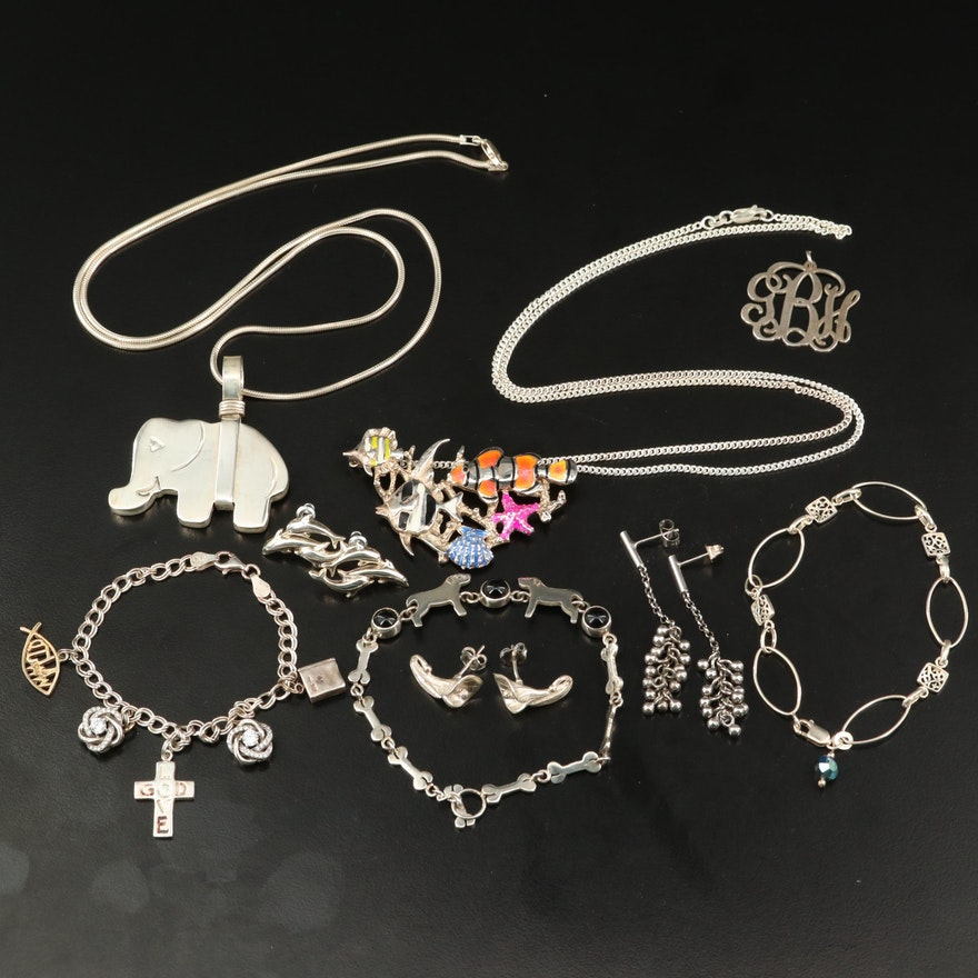 Sterling Jewelry Featuring Black Onyx Dog and Bone Bracelet