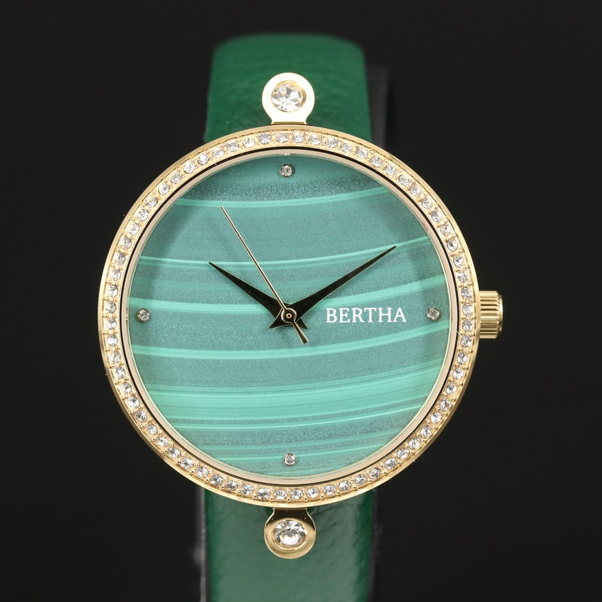 Bertha Glass Crystals Accented Quartz Wristwatch