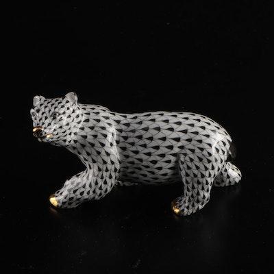 "Herend Black Fishnet with Gold ""Polar Bear"" Porcelain Figurine, November 1998"