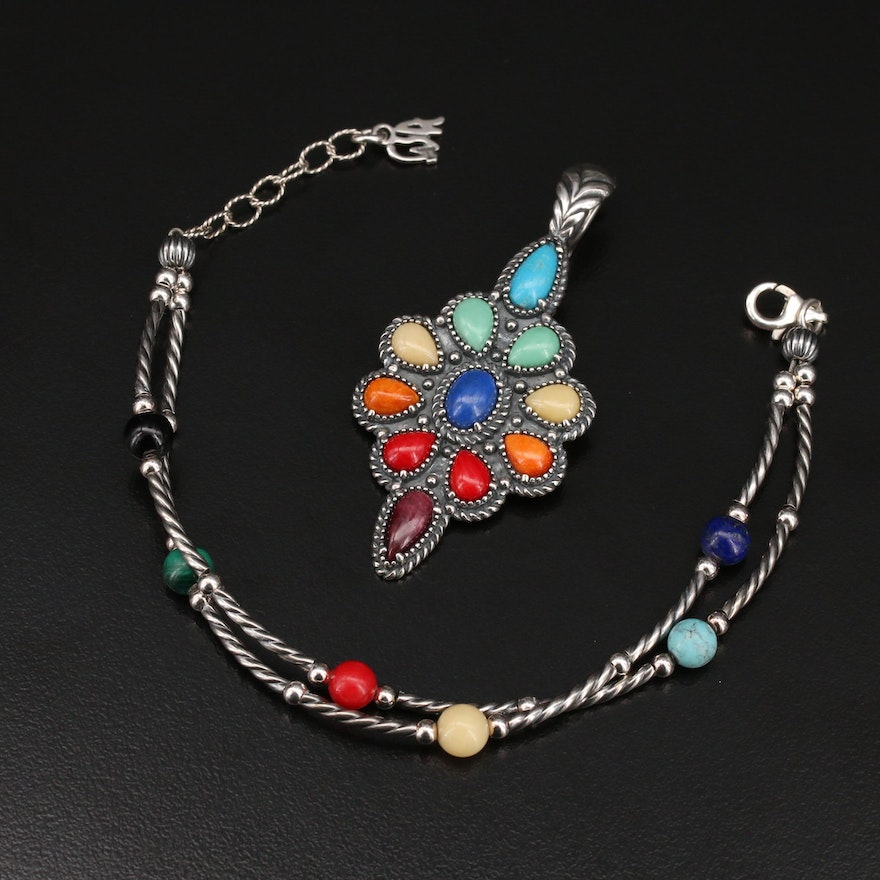 """Carolyn Pollack for Relios """"American West"""" Sterling Pendant and Bracelet  Set"""