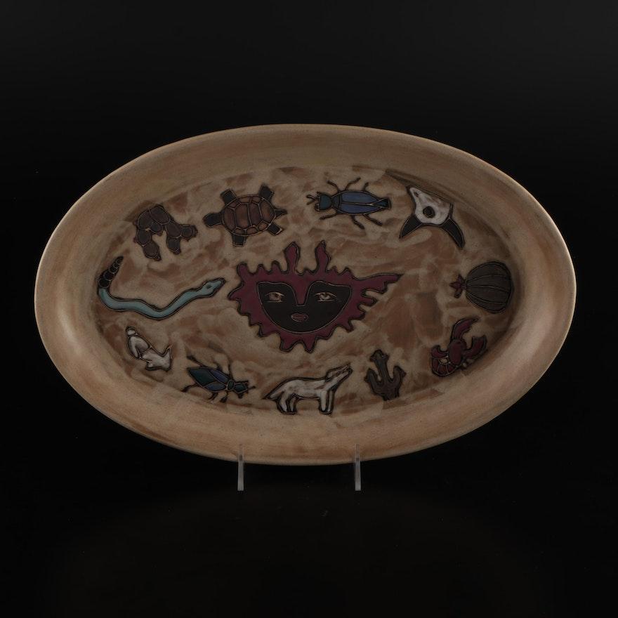 """Design by Mara """"Desert Earth"""" Stoneware Oval Platter"""