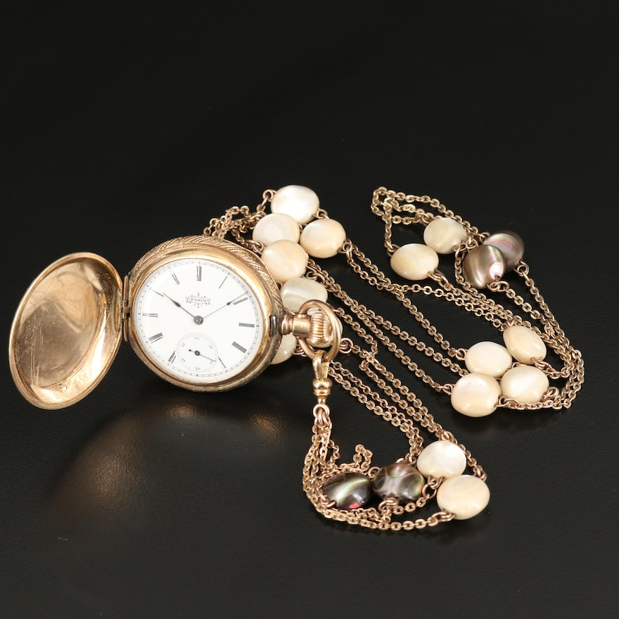 1895 Elgin Gold Filled Pocket Watch and Chain