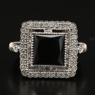 14K Black Moissanite and Diamond Ring