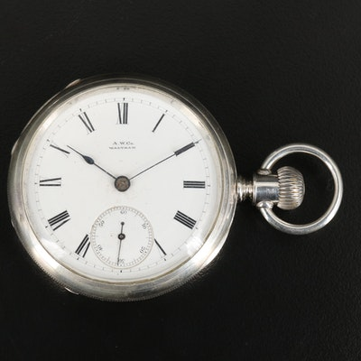 1883 Sterling Silver Waltham Pocket Watch