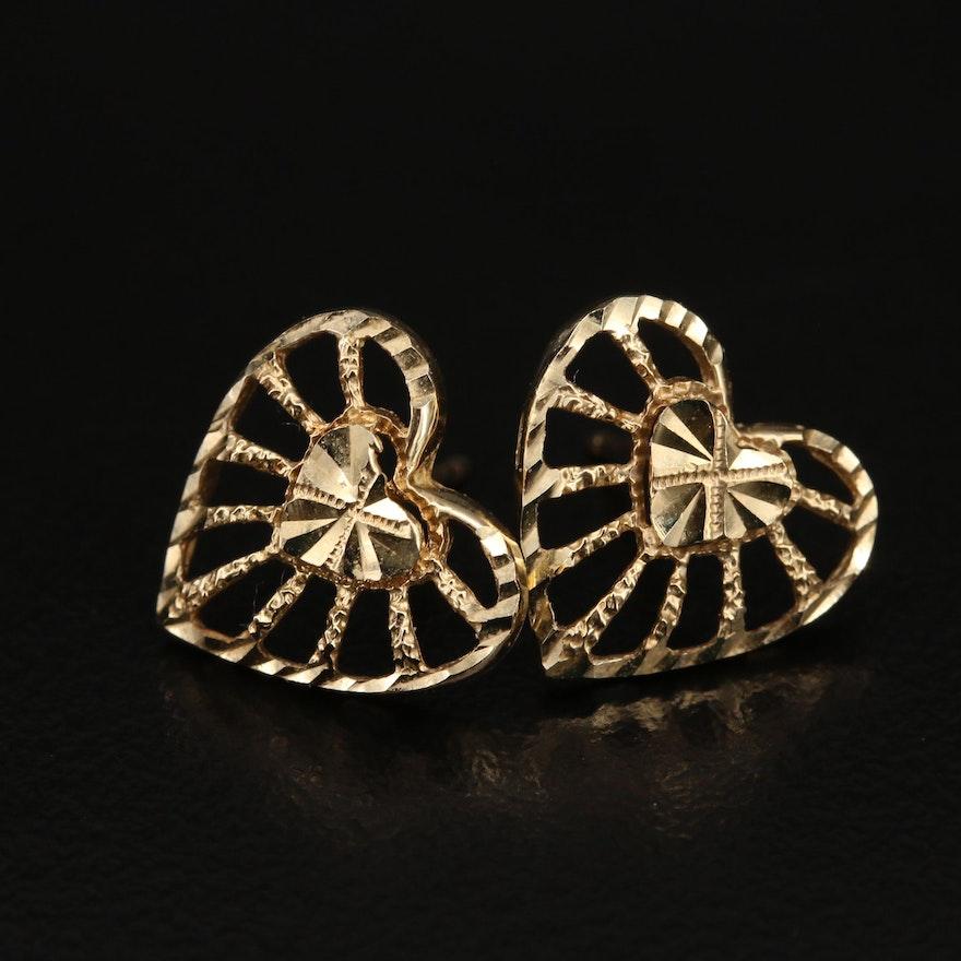 14K Diamond Cut Heart Openwork Earrings